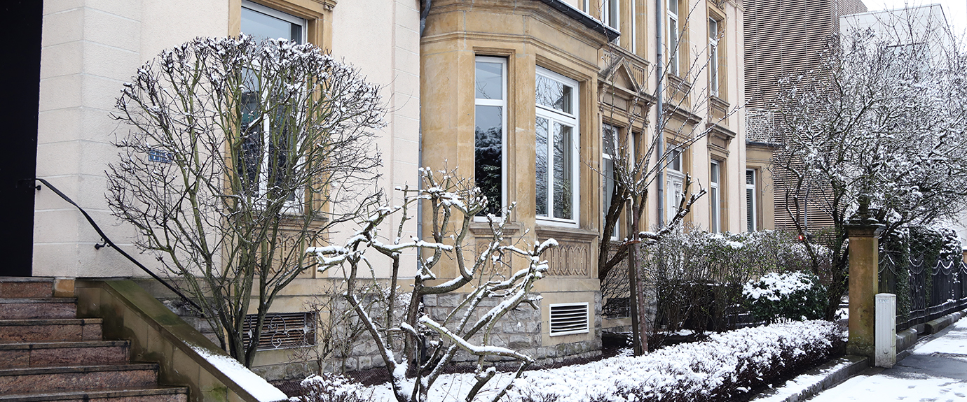 Elvinger Hoss Prussen building in winter