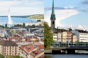 Geneva and Zurich skylines